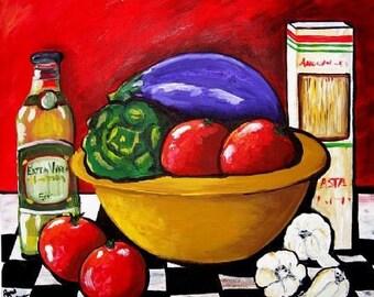 Italian Kitchen Dinner Tomatoes Eggplant Garlic  Whimsical Folk Art Giclee Print