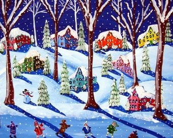 Winter Whimsical Ice Skating Kids Snow Colorful Folk Art Giclee Print