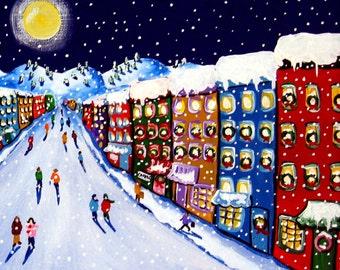 Christmas Shoppes Holiday Snow Whimsical Winter Folk Art Giclee PRINT