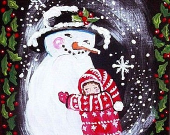 Snowman Hug Giclee PRINT Holiday Folk Art Winter Fun