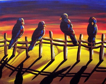 Crows Ravens Sunset Colorful Folk Art Giclee Print From Original Painting