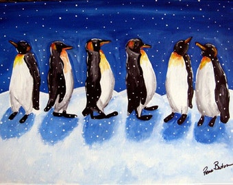 Penguins Snow Fun Winter Whimsical Folk Art Giclee Print