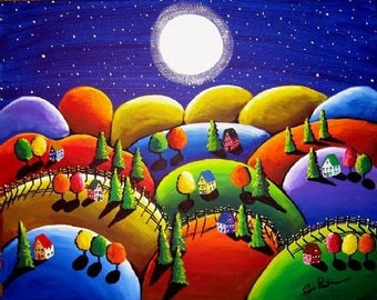 Peace on Earth 6 Houses Hills Whimsical Colorful Landscape Folk Art Giclee Print