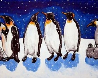 Penguin Party Whimsical Winter Fun Folk Art Giclee Print