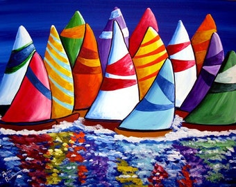 Sailing Sailboats Colorful Whimsical Folk Art Giclee PRINT