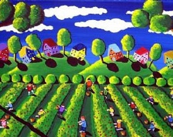Picking Strawberries Folk Art Children Giclee PRINT
