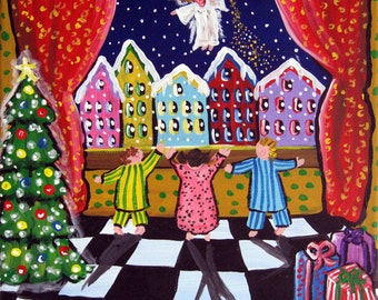 The Christmas Angel Holiday Whimsical Folk Art Canvas Giclee PRINT