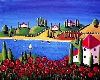 Poppies Sailboats Colorful Folk Art Giclee Print