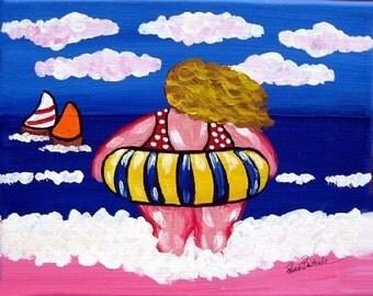 Big Beach Diva Inner Tube Fun Whimsical Colorful Folk Art Canvas Art Print