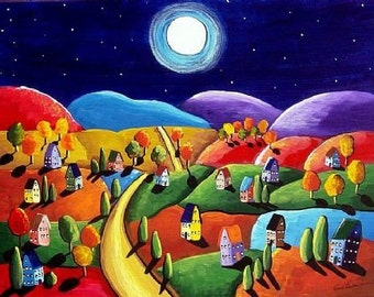 Colorful Peace on Earth Landscape Colorful Whimsical Folk Art Giclee Print