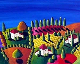 Daytime Tuscan Folk Art Colorful Landscape Giclee Canvas Print