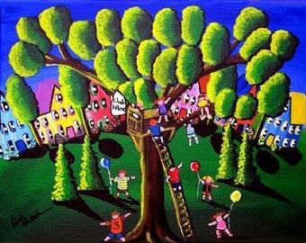 Tree House Kids Folk Art Landscape Whimsical Giclee Print