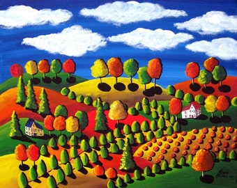 Fall Day Colorful Landscape Pumpkins Whimsical Folk Art Painting