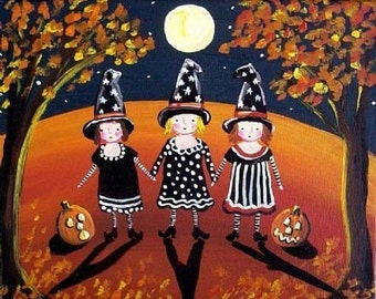 Three Little Witches Halloween Folk Art Whimsical Giclee Print