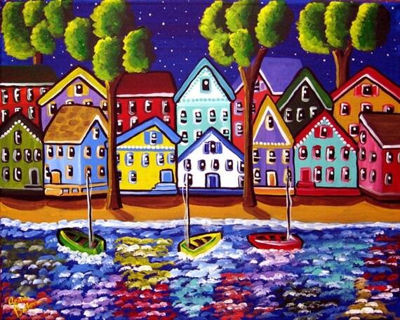 Colorful Shoreline Houses Boats Whimsical Original Folk Art Painting