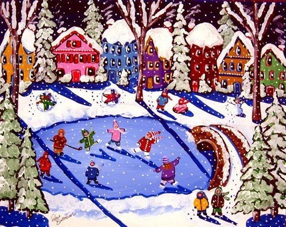 Winter Fun Kids Skate Sled Riding Whimsical Folk Art Original Painting
