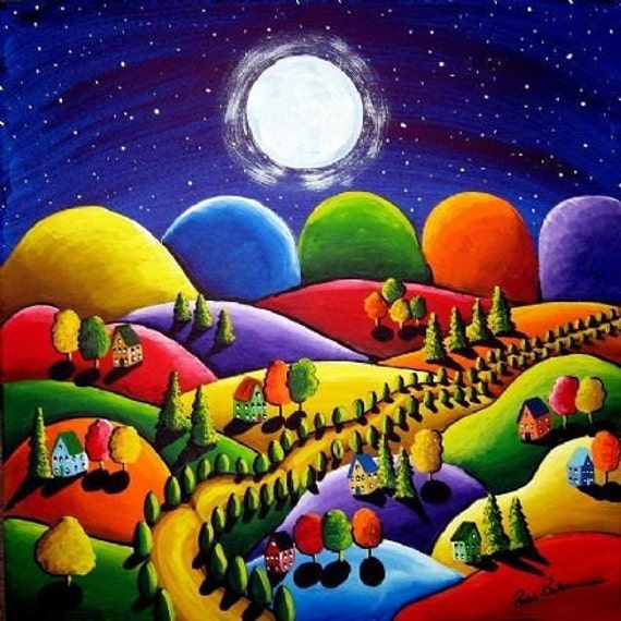 Peace on Earth 5 Houses Hills Landscape Moon  Folk Art Giclee PRINT