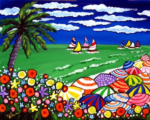 Tropical Beach Scene Umbrellas Palm Tree Whimsical Colorful Original Folk Art Painting