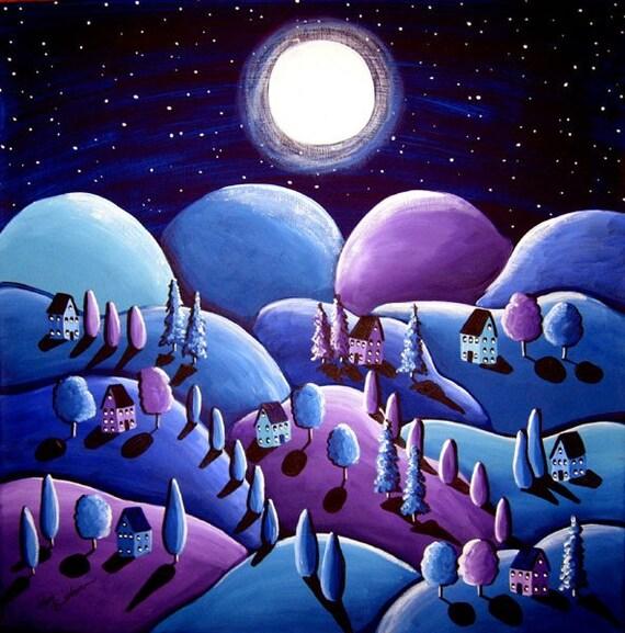 Blue Peace on Earth Landscape Folk Art Painting