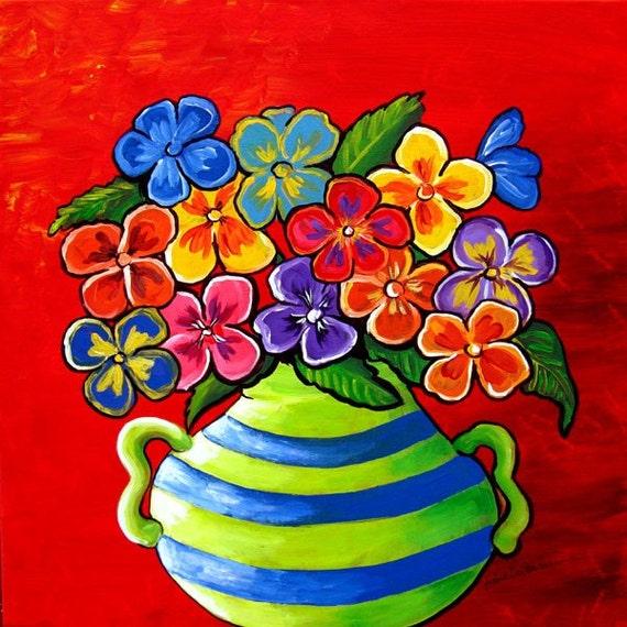 Pansies Floral Fun Colorful Folk Art Painting