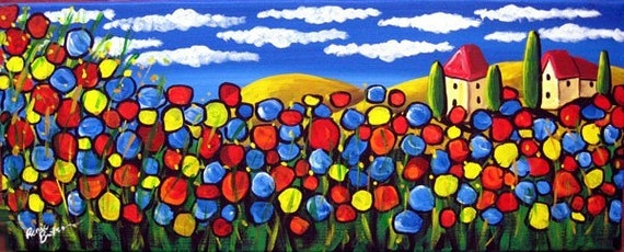 Field of Poppies Colorful Fun Whimsical Folk Art Original Painting renie