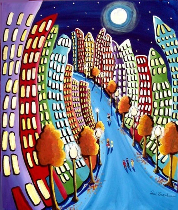 Autumn Cityscape Fun Funky City NYC Whimsical Folk Art Original Colorful Painting