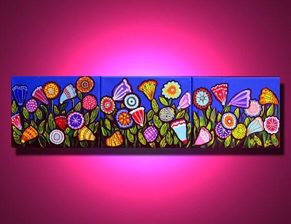 Fun Spring Flowers Colorful Whimsical Fun Funky 3 Paintings Folk Art