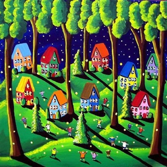 Catching Fireflies Fun Kids Whimsical Colorful Folk Art Canvas Giclee Print