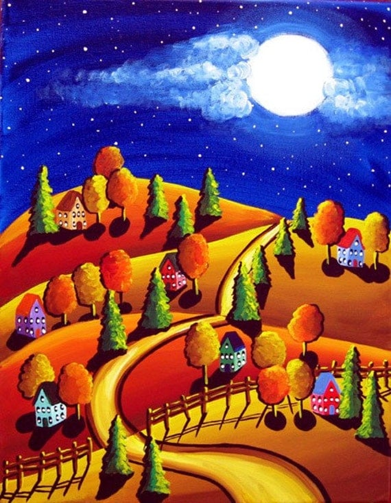 Fall Night Scene Full Moon Houses Trees Folk Art Painting