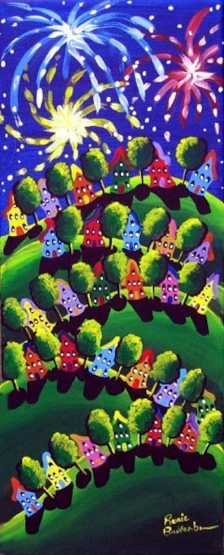 4th Of July  Fireworks Fun Folk Art Houses Whimsical Original Art Painting Canvas