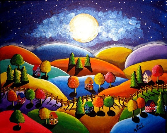 Peace on Earth Colorful Landscape Whimsical Original Folk Art Painting