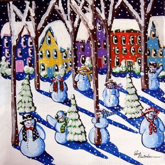 Magical Snowmen Whimsical Winter Holiday Fun Folk Art Giclee Print