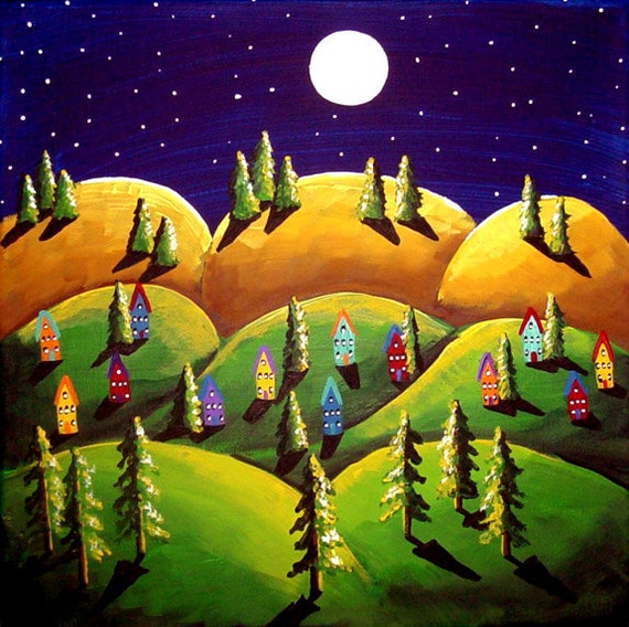 Peace On Earth Green Gold Hills Landscape Painting Folk Art Colorful Whimsical Art