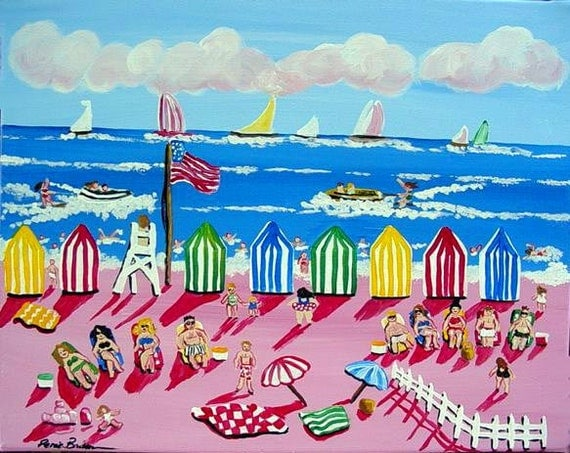 Whimsical Beach Scene Sun Boats Fun Colorful Folk Art Painting renie