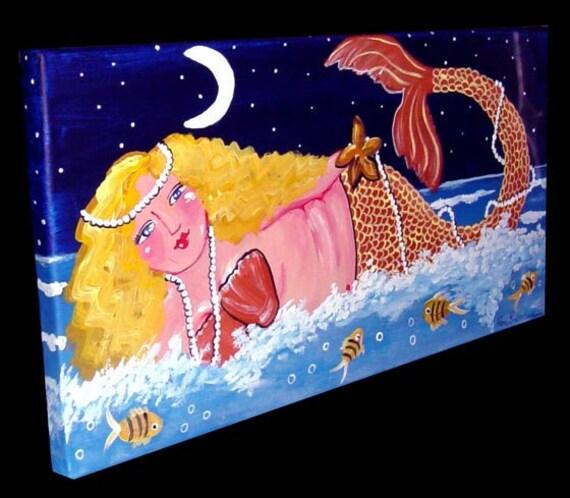 Whimsical Blonde Mermaid Fish Fun Sea Original Painting Folk Art renie