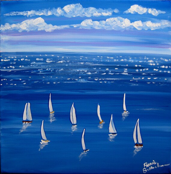Blue Sail Sailboats Whimsical Original Folk Art Painting