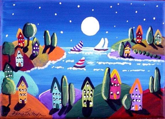 "Sailboats Full Moon Houses Whimsical Folk Art Painting Small 7"" x 5"""