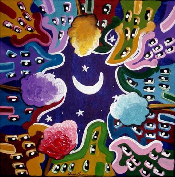 Whimsical Houses Moon Stars Neighbors  Folk Art Painting