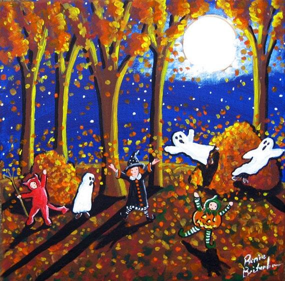 Little Trick or Treaters Fall Leaves Autumn Halloween Full Moon Folk Art Original Painting