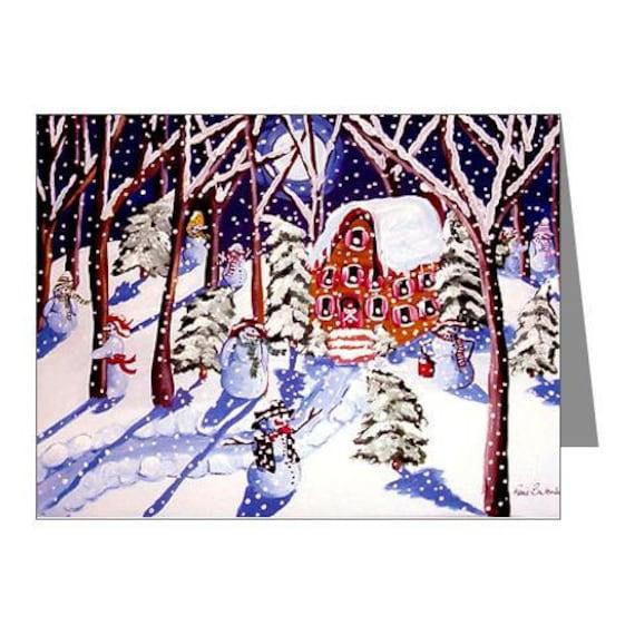 Magic Snowmen Winter Holidays Whimsical Folk Art Fun Blank Note Cards Pk of 10