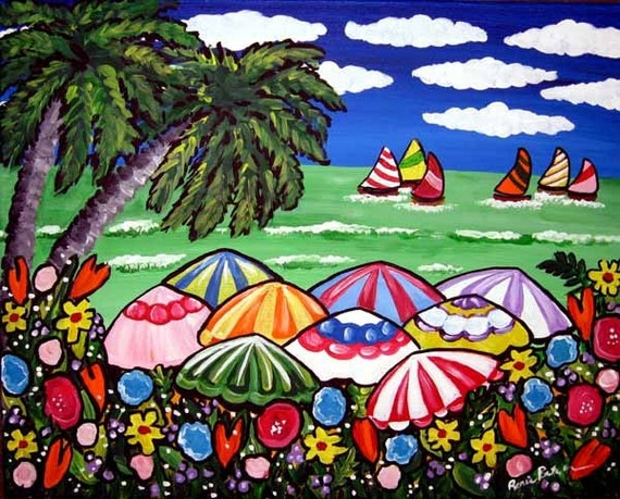 Tropical Beach Scene Whimsical Colorful Folk Art Giclee PRINT