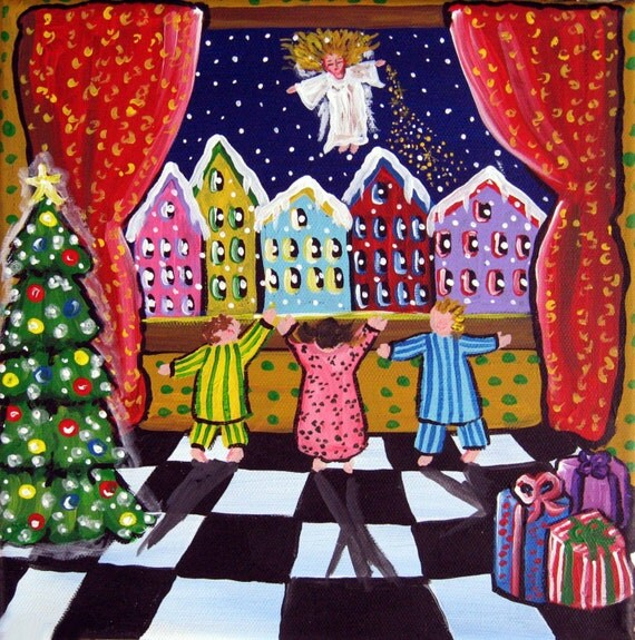 The Christmas Angel Holiday Whimsical Folk Art Canvas Giclee PRINT