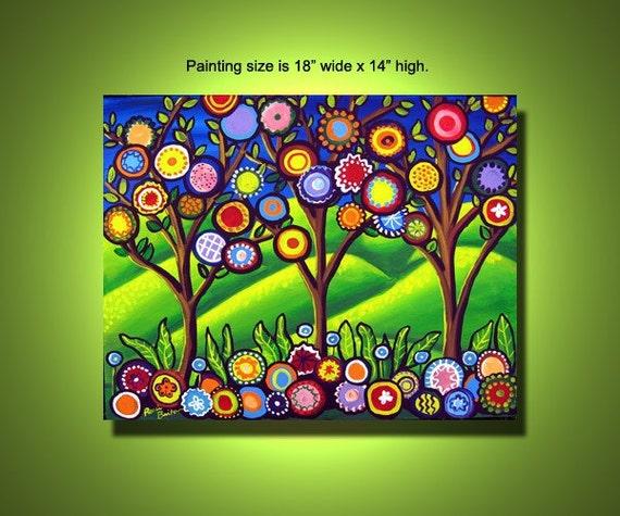 Fun Funky Flowers Trees Colorful Spring Painting Canvas Original renie