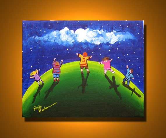 KIDS Reach For Stars Fun Whimsical Colorful Folk Art Original Painting on Canvas