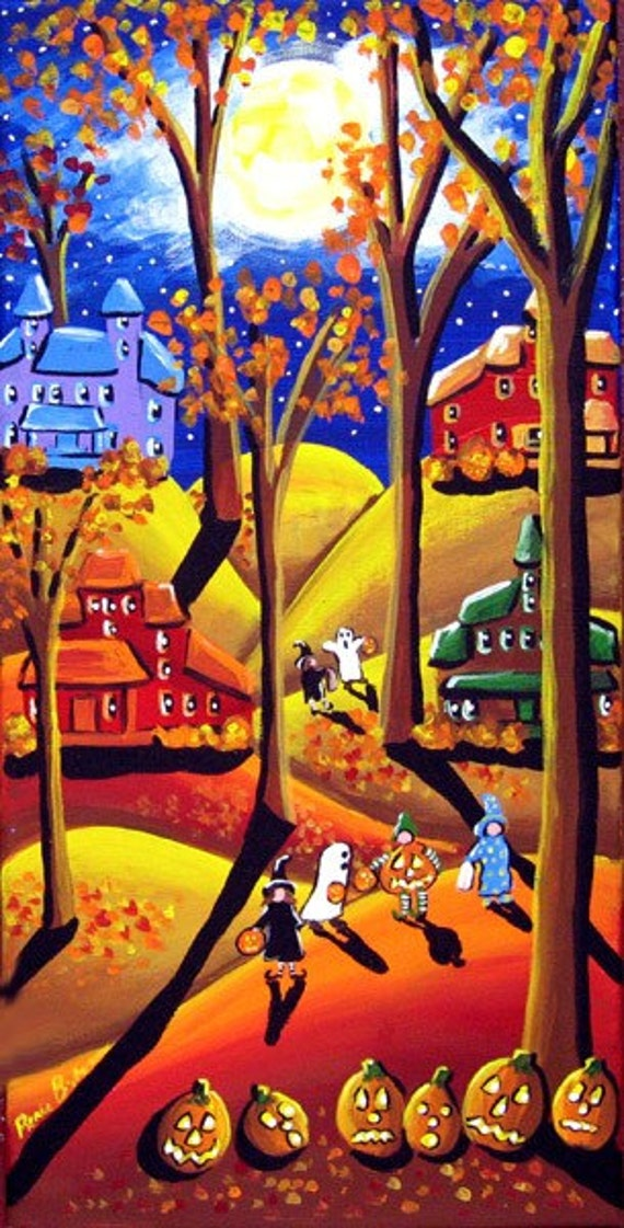 Halloween Trick or Treat Kids Folk Art Moon Whimsical Original Painting