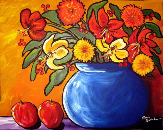 Colorful Fall Bouquet Flowers Apples Folk Art Original Painting