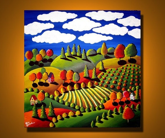 Colorful Fall Day Whimsical Landscape Folk Art Painting Original Fun