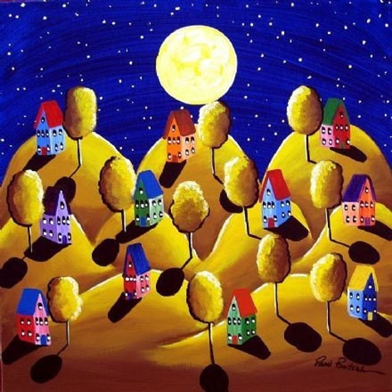Fall Night Full Moon Golden Landscape Whimsical Folk Art Canvas Giclee Print