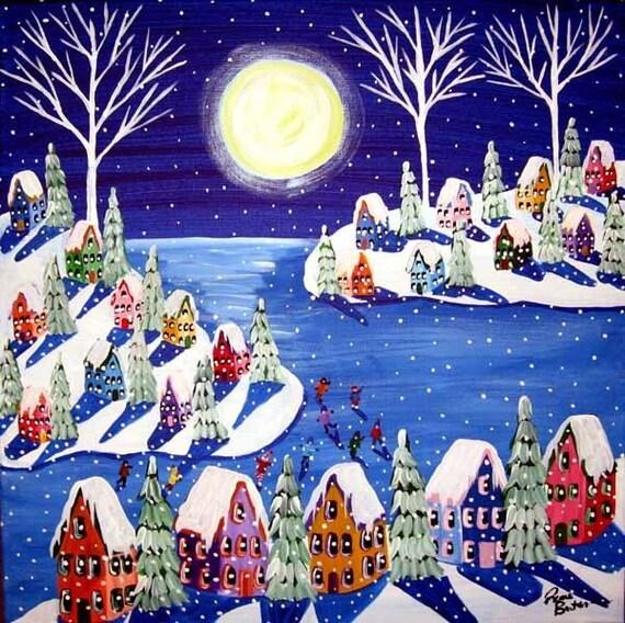 Tribute to Vince Guaraldi  Winter Wonderland Snow Ice Skate Whimsical Original Folk Art Painting
