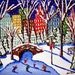 Ice Skaters in the City Winter Christmas Folk Art Landscape Original Painting